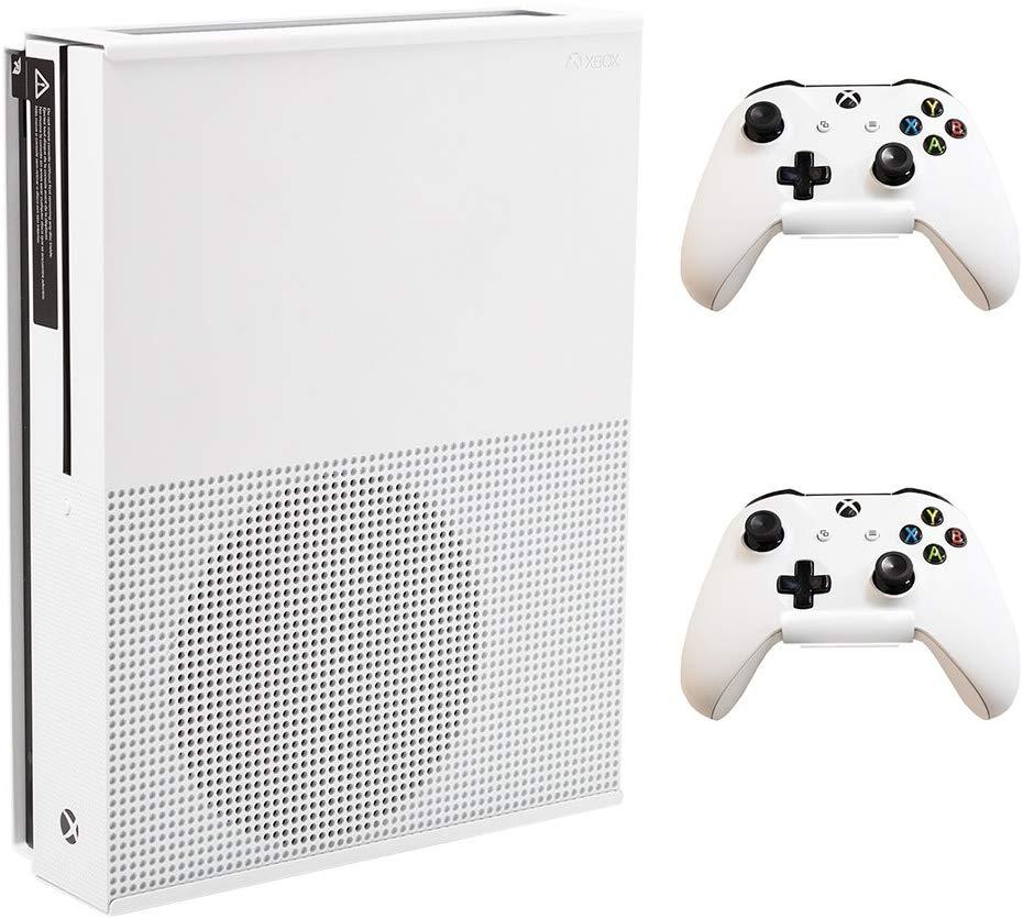 HIDEit Mounts X1S + 2 Controller Mounts (White) - Xbox One S Wall Mount Bundle