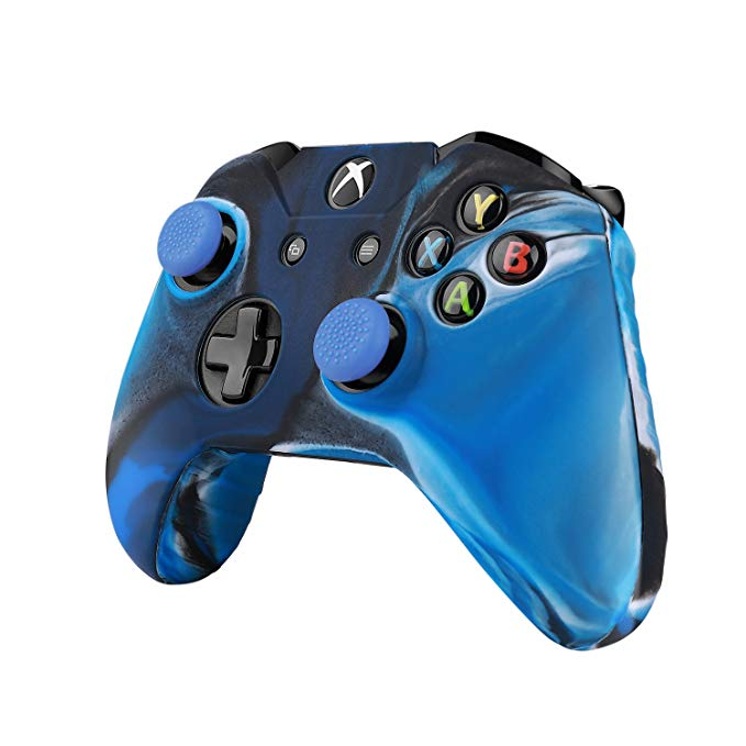 TNP XBox One S / XBox Controller Case - Soft Silicone Gel Rubber Grip Case Protective Cover Skin & Grip Stick Caps for XBox One S / XBox Wireless Gaming Gamepad (Camouflage Blue)