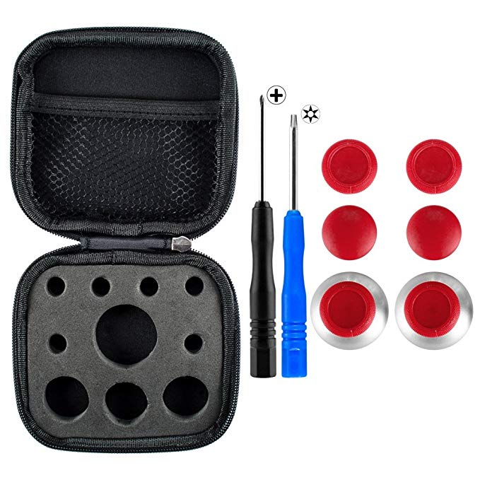 eXtremeRate 4 in 1 Metal Magnetic Thumbsticks Analogue Joysticks T8H Cross Screwdrivers Replacement Repair Kits with Storage Case for Xbox One S Elite PS4 Slim Pro Nintendo Switch Pro Controller