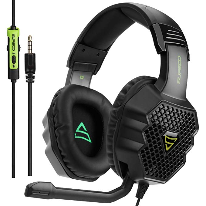 SUPSOO G811 Gaming Headset Over-Ear Stereo Bass Gaming Headphone with Noise Isolation Microphone for Xbox one PS4 PC Laptop Mac iPad iPod - Black