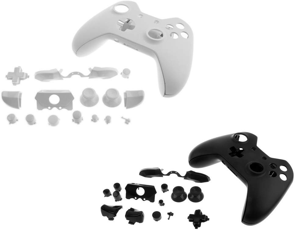 MagiDeal Full Housing Shell Kit Replacement Parts For Xbox One Controller White +Black
