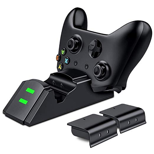 Xbox One Wireless Controller Charger,Dual Docking Charging Station Dock with 2x600mAh Rechargeable Battery Packs and USB Cable for Xbox One/One S/One X/One Elite Wireless Controller