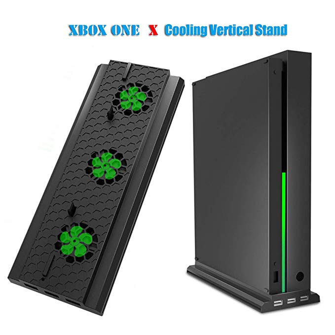 DOBE Cooling Fan for Xbox One X,Vertical Stand with 3 Air Vents,2 Cooling Modes and a Light Bar[2-Year Warranty] (Black)
