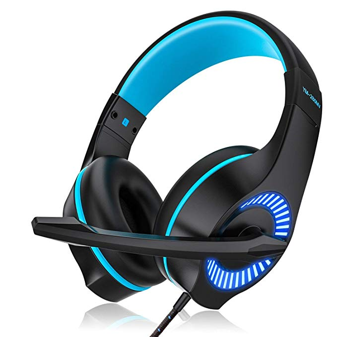 AceMining Gaming Headset,USB Headset,Wired Headset with Clear Sound,for PS4, PC, Xbox One Controller and so on, Noise Cancelling Over Ear Headphones with Mic, LED Light,Surround Sound, Volume Control