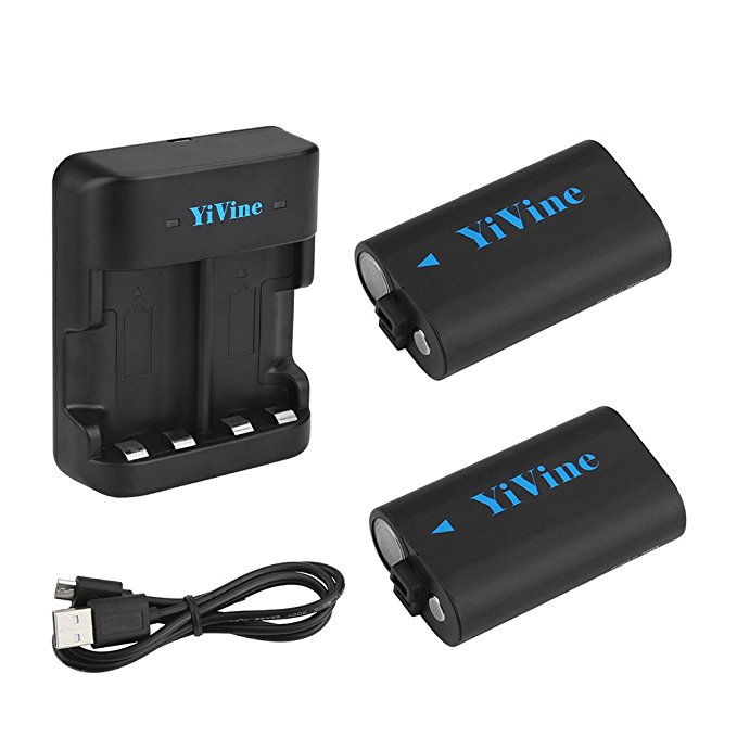 YiVine 2500mAH NI-MH Battery Pack for Xbox One/Xbox One X/Xbox One S Wireless Controller with Smart Dual Charger