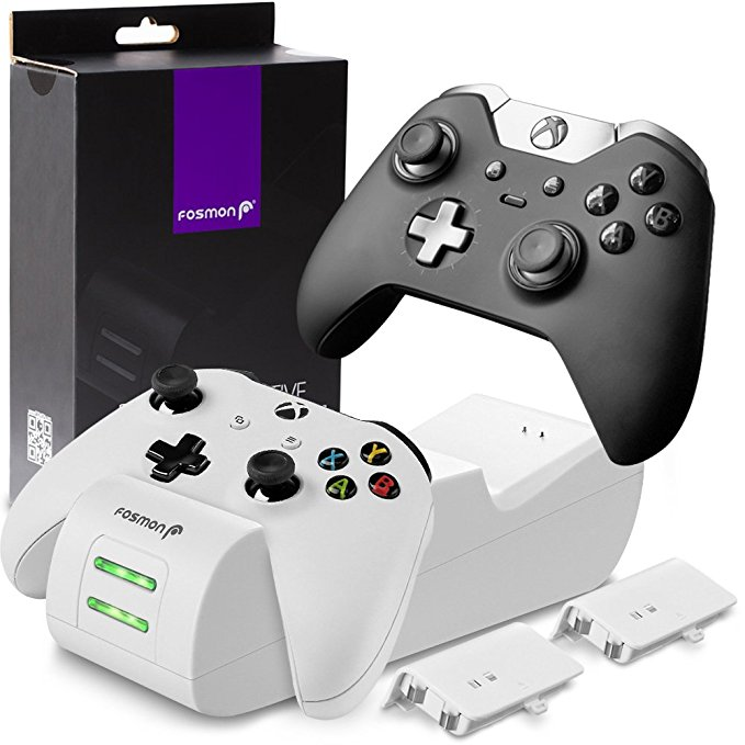 Fosmon Xbox One / One X / One S Controller Charger, [Dual Slot] High Speed Docking / Charging Station with 2 x 1000mAh Rechargeable Battery Packs (Standard and Elite Compatible) - White