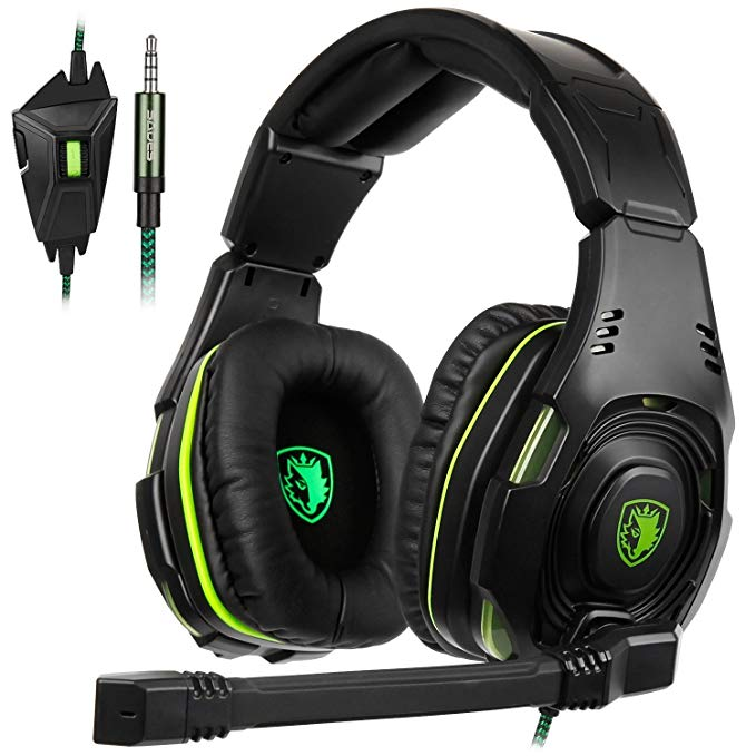 SADES SA-938 Multi-Platform Gaming Headset With Mic 3.5MM Jack IN-LINE Volume Control Over-ear Headphones For New PC/PS4/Smartphones