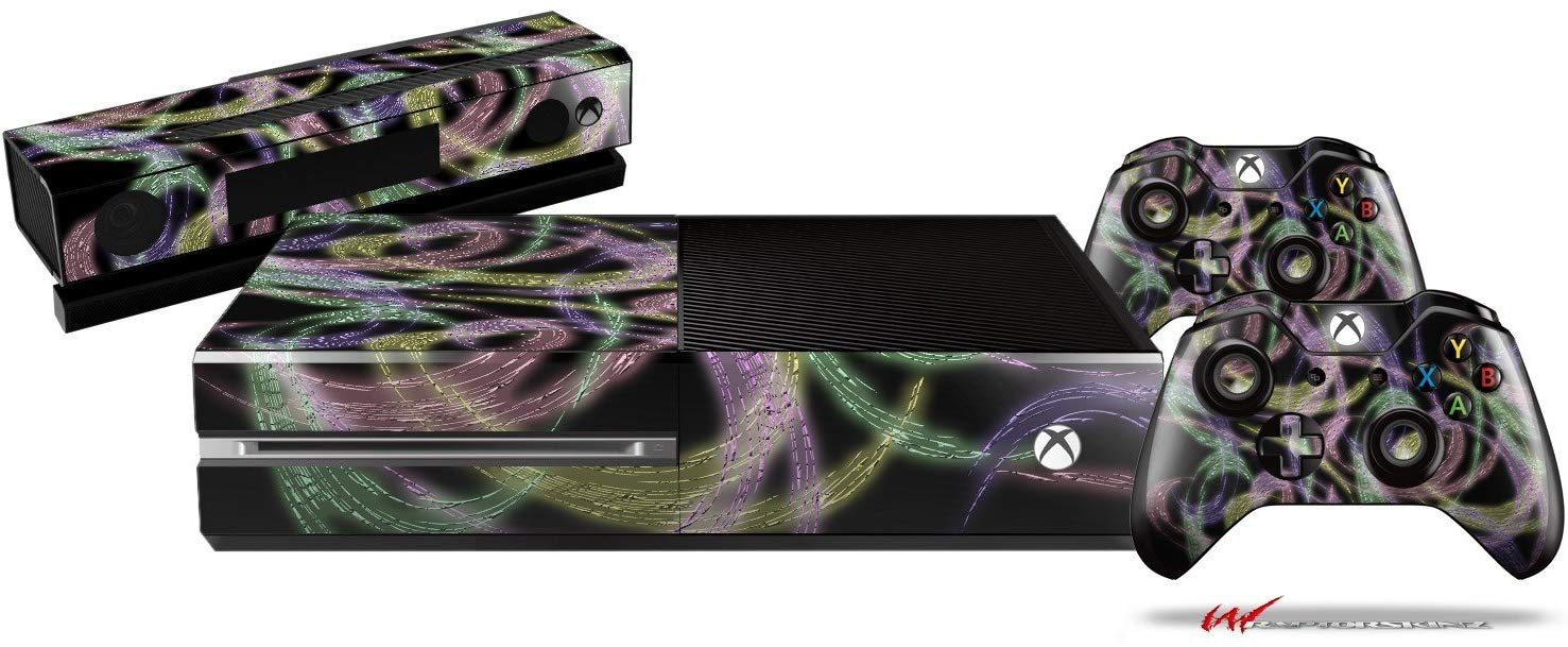 Neon Swoosh on Black - Holiday Bundle Decal Style Skin Set fits XBOX One Console, Kinect and 2 Controllers (XBOX SYSTEM SOLD SEPARATELY)