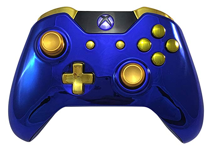 Blue Chrome Gold Xbox One GM Master Mod Modded Controller for Call of Duty, rapid fire mod for MW Remastered, Infinite Warfare, Custom
